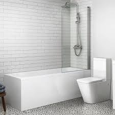straight modern single ended shower bath bathtub glass screen