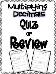 multiplying decimals free multiplying decimals quiz or review and answer key tpt