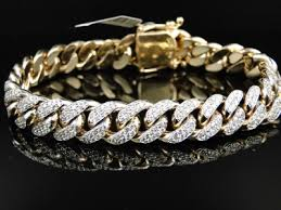 bracelet diamond men images Mens solid yellow gold miami cuban genuine 12 mm diamond bracelet jpg