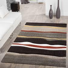 Schlafzimmer Beige Rot Moderner Teppich Wohnzimmer Streifen Optik Meliert Braun Beige Rot