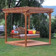 a u0026l furniture co cedar pergola marlboro swing bed set with deck