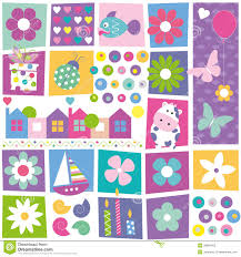 kids birthday set pattern stock vector image of colorful 38891403
