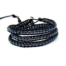 bracelet beads leather images Midnight charm hematite beads black leather bracelet aeravida jpg