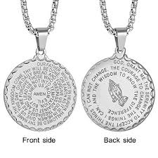 praying necklace mens christian lord s prayer necklace stainless steel engraved bible