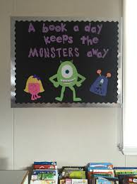 halloween bulletin board a book a day keeps the monsters away