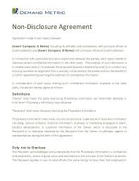 Non Disclosure Statement Template by Non Disclosure Agreement Template