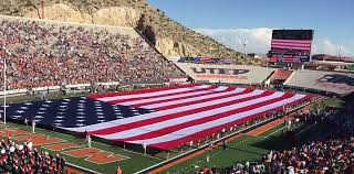 El Paso Texas Flag Field Size Flag Flyover Highlight National Anthem At Utep Army Game