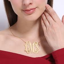 large monogram necklace gold color large size monogram necklace 2 inch pendant monogram