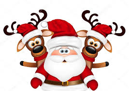 card santa claus and two reindeer stock vector