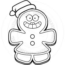 cartoon gingerbread woman christmas black and white line art by