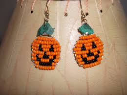 beaded pumpkin earrings for halloween jack o u0027lantern