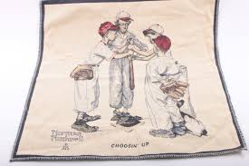 needle point norman rockwell fabric swatch quilt making piece