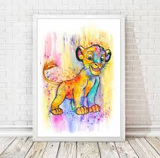 simba watercolor abstract print disney poster the lion king