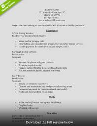 food service sample resume perfect resume examples the perfect resume example work history internship resume summer