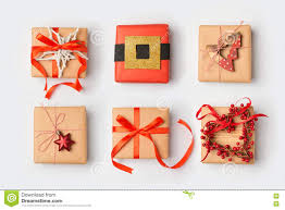 wrapped christmas boxes christmas handmade wrapping gift boxes background view from above