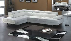 White Leather Sectional Sofa White Leather Modern Sectional Sofa With Adjastable Headrests