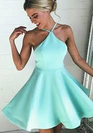 light blue mini dress light blue ruffle halter neck backless spaghetti strap graduation