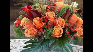 autumn floral arrangements with orange roses youtube