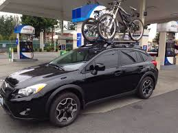 subaru xv crosstrek lifted bikes ecohitch subaru crosstrek roof bike rack crosstrek