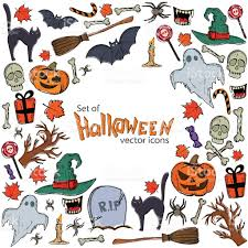 background halloween art background of halloween icons with round frame stock vector art