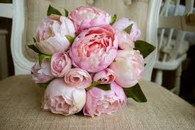 Artificial Peonies Blush Pink And Pale Pink Silk Wedding Bridesmaid Bouquet Made