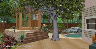 backyard deck plan idea with awesome gazebo and small pool design