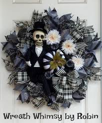 Black Halloween Wreath Halloween Day Of The Dead Skeleton Doll Deco Mesh Wreath In Black