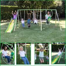 large play center metal swing set playground backyard slide kid