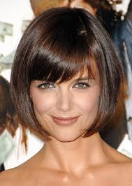 katie holmes short haircut cute box bob cut with bangs katie