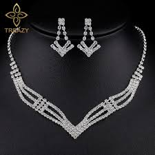 crystal bridal necklace sets images Treazy simple crystal bridal jewelry sets silver color rhinestone jpg