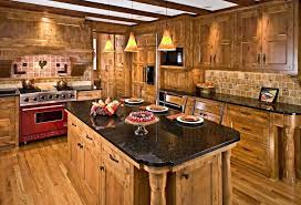 distressed rustic alder cabinetry kitchen farmhouse with stove top