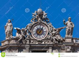 clock on the st peter u0027s facade in rome italy stock image image