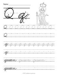 free printable cursive q worksheet cursive writing worksheets