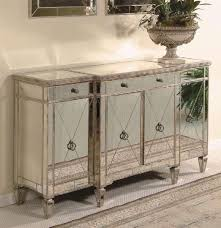 Antique Server Buffet by Wood Buffet Server W Antique Silver Tone Finish U0026 Beveled Mirror Front