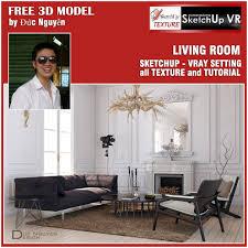 sketchup texture sketchup model vray living room 6