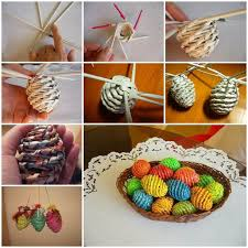 Easter Decorations You Can Make At Home by Diy Woven Paper Easter Egg Basket And Tray Easter Egg And Newspaper