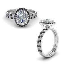 black diamond bridal set 14k white gold black diamond wedding sets engagement rings