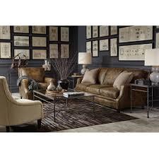 manzo rustic lodge brown leather nailhead sofa kathy kuo home
