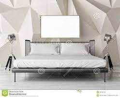 Schlafzimmerm El Betten Retro Bett Des Schlafzimmers Mit Spott Herauf Plakat Stock