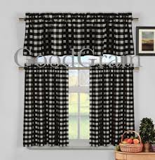 Black And White Checkered Curtains Black White Gingham Checkered Plaid Kitchen Tier Curtain Valance
