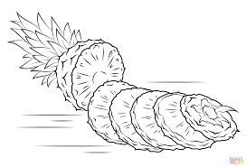 sliced pineapple coloring page free printable coloring pages