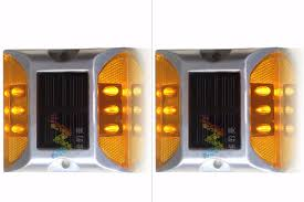 solar powered flashing yellow light 2x solar powered led road stud amber road flashing light one pack in