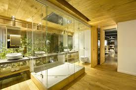 glass shower sinks loft style home in terrassa spain
