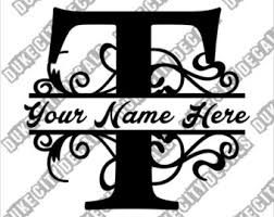 monogram letter t duke city decals by dukecitydecals on etsy