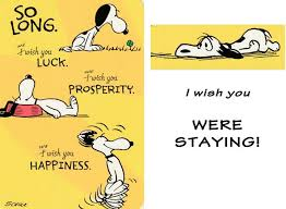 snoopy goodbye card peanuts cards cards and card ideas