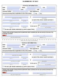 Used Car Bill Of Sale Sample by Free Alabama Mvd Bill Of Sale Form Pdf Word Doc