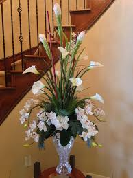 Artificial Flowers Home Decor by Calla Lily With Orchid Flower Arrangement For Perfect Foyer Or