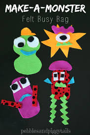 monster busy bag felt craft for kids making life blissful
