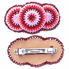 barrette clip barrette clip pink rossette beadwork z40 26