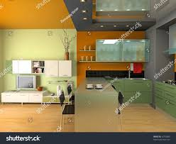modern kitchen interior design 3d rendering stock illustration